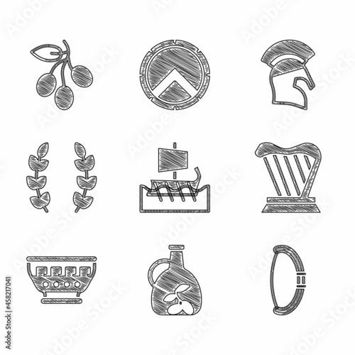 Obraz na plátně Set Greek trireme, Bottle of olive oil, Medieval bow, Harp, ancient bowl, Laurel wreath, helmet and Olives branch icon