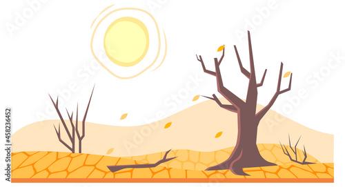 Canvas-taulu Drought in land or dry desert soil with dead trees
