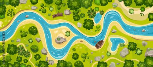 Fotografiet River top view landscape above forest, aerial map