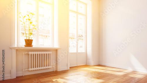Photo Helle sonnige Wohnung mit Balkon im Sommer im Altbau