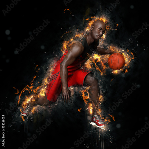 Basketball player in firestorm Fototapet