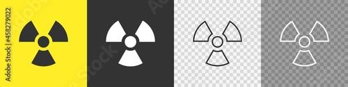 Photo Radioactive toxic nuclear set icons on white background