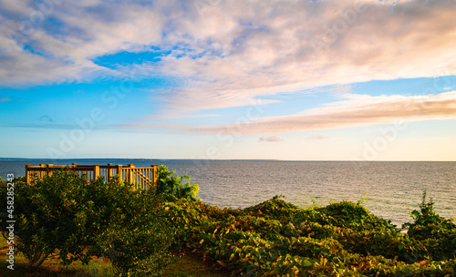 Fotografie, Obraz Cape Cod seascape and autumn cloudscape over the Martha's Vineyard from the hill