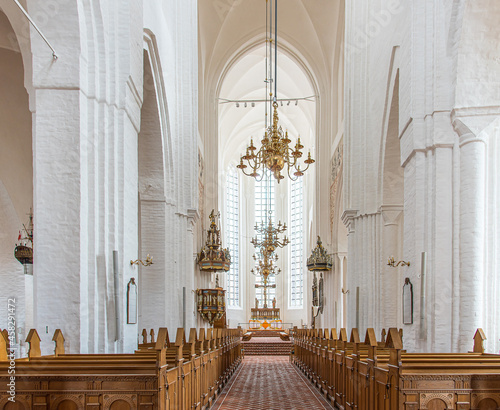 Fotografie, Obraz bright gothic nave with tall pillars in the cathedral of Haderslev