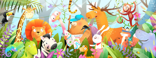 Fototapeta premium Kids and children jungle adventure with African animals in the wild, boy and girl explorers on adventure journey looking for animals. Horizontal banner for kids storytelling. Watercolor style vector.