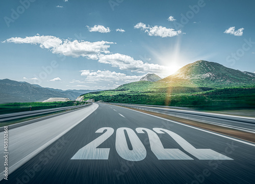 Obraz na plátne 2022 New Year road trip travel and future vision concept
