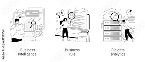 Enterprise strategy development abstract concept vector illustrations.