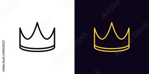 Canvastavla Outline crown icon, with editable stroke
