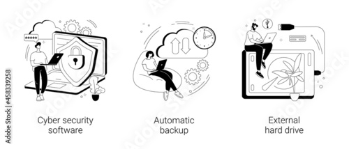 Data protection and recovery abstract concept vector illustrations.
