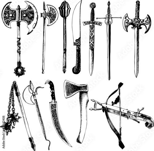 Carta da parati Medieval weapons vector set
