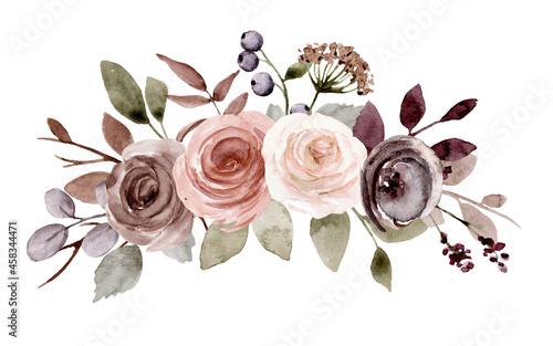 Obraz na plátně Flower bouquet watercolor drawing for printing, sublimation, web design
