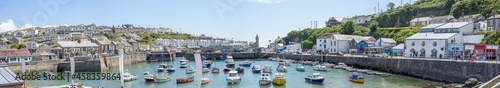 Fotografiet Panoramic View Of Porthleven Harbour And Boats
