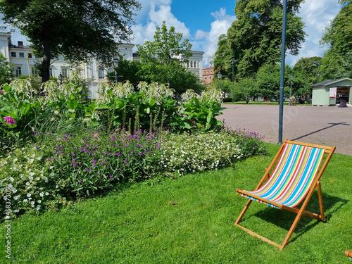 Slika na platnu Chaise lounge for relaxing in a garden