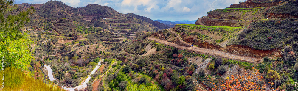 Panoramic view of the Dierona village at the foothills of the Troodos Mountains in the Limassol District, Republic of Cyprus