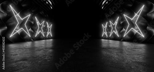 Fotografija A dark tunnel lit by white neon lights