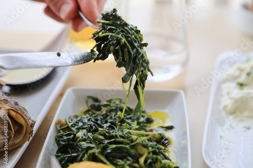 Hands Holding Knife And Fork Of Person Eating Green Vegetables In Plate