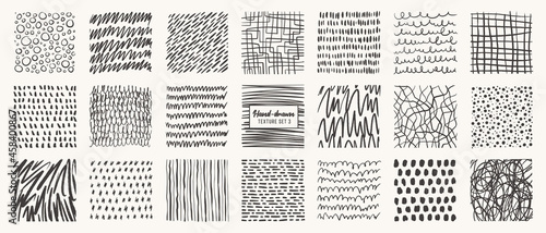 Set of hand drawn patterns isolated. Vector textures made with ink, pencil, brush. Geometric doodle shapes of spots, dots, circles, strokes, stripes, lines. Template for social media, posters, prints