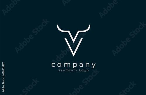 Fotografie, Obraz Initial V horn Logo, minimalist letter V with horn design logo, vector illustrat
