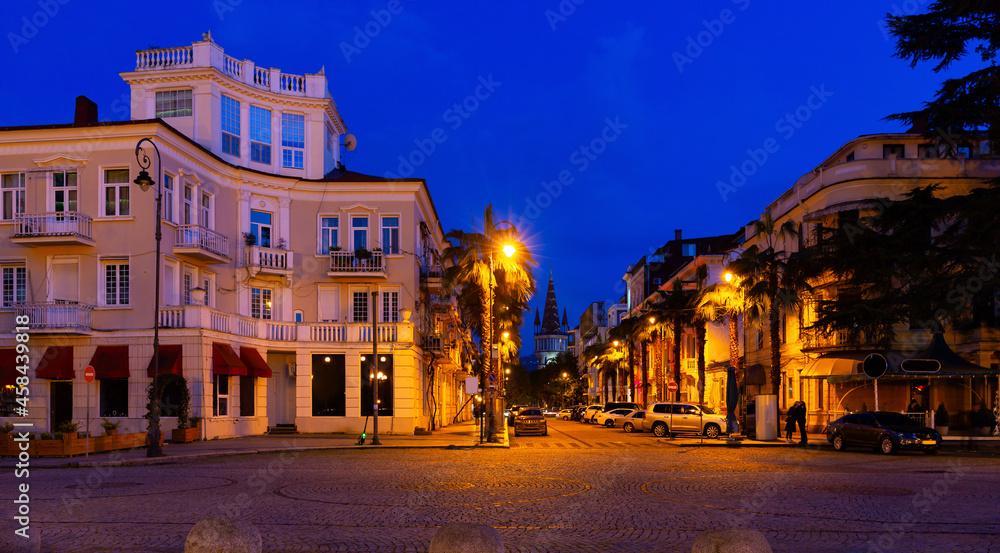 Night view of Konstantine Gamsakhurdia Street from Batumi Boulevard, Batumi, Georgia