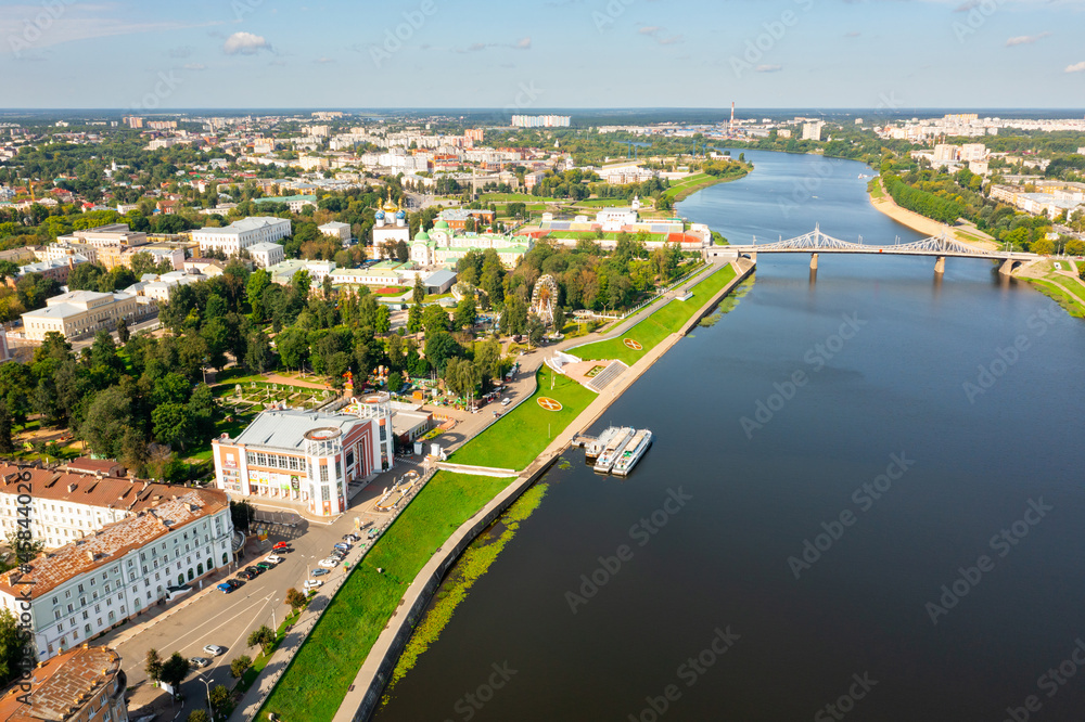 Bird's eye view of Volga and waterfront of Tver. Savior Transfiguration Cathedral seen from above.