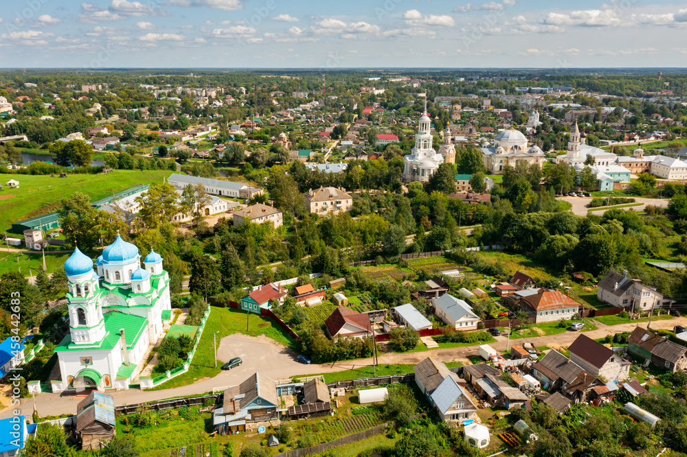 Bird's eye view of Borisoglebsky monastery and Church of the Annunciation of the Blessed Virgin in Torzhok, Russia.