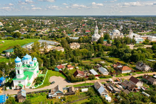 Fototapeta Bird's eye view of Borisoglebsky monastery and Church of the Annunciation of the Blessed Virgin in Torzhok, Russia