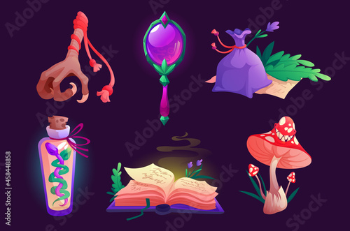 Fotografie, Obraz Witch items magic mirror, spell book, bird foot and sack with dry herbs, fly agaric mushroom, bottle with snake