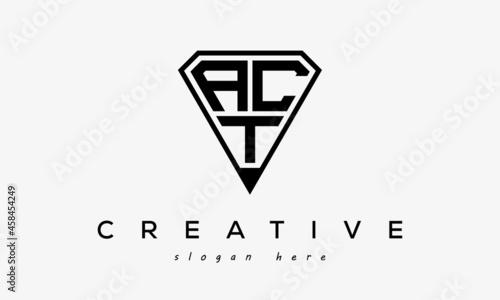 Fotografie, Obraz initial letters logo ACT black monogram diamond pentagon shape with tringle