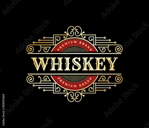 Photo Vintage luxury royal frame labels with typography logo for beer whiskey alcohol
