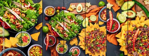 Obraz na plátně Collage of Hispanic mexican food on dark background