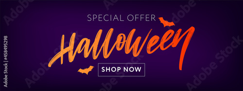 Fotografering Happy Halloween Text Banner Lettering Holiday Special offer Shop Now