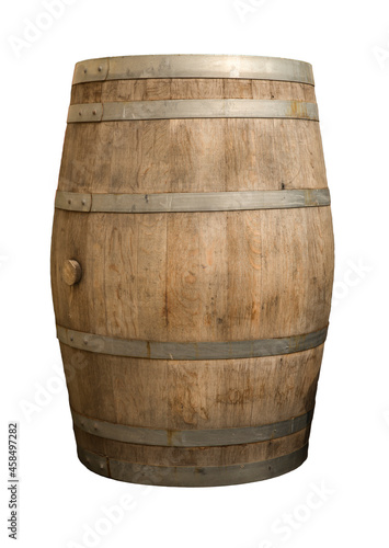 Murais de parede Wooden barrel for wine with steel ring. Clipping path included.