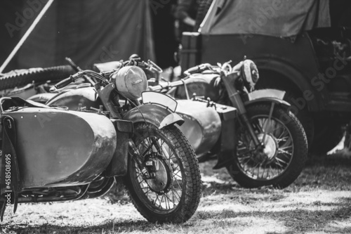 Fotografie, Obraz World War II German Wehrmacht Old Tricars, Three-wheeled Motorcycles in Camp