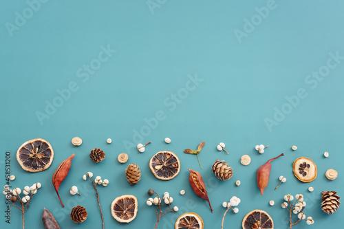 Billede på lærred Top view image of autumn forest natural composition over blue background
