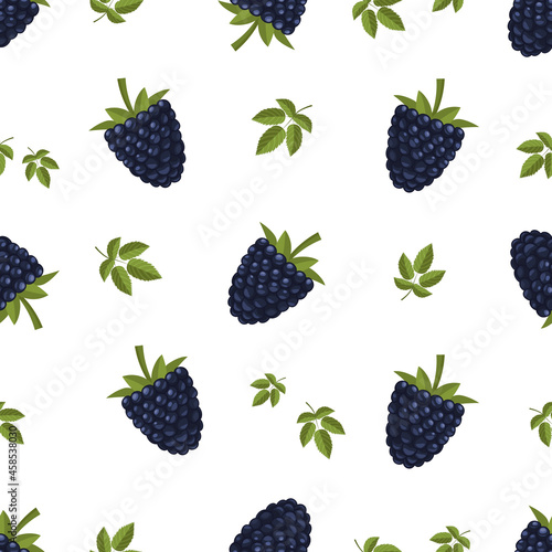 Canvas Print Dark-blue berries of bramble, dewberry, blackberry with green leaves, seamless vector background