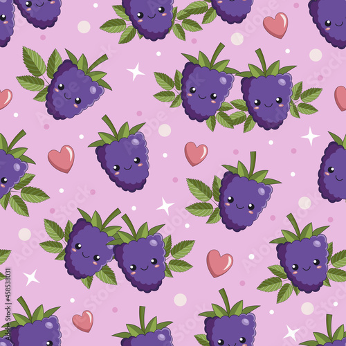 Wallpaper Mural Cute cartoon berries of bramble, dewberry, blackberry with smiling faces, leaves and hearts, seamless vector background