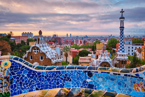 Fotografie, Obraz Barcelona city view from Guell Park