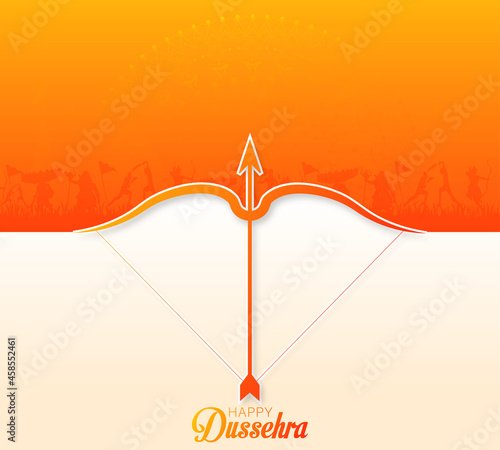 Fotografia Happy Dussehra Indian festival with bow, arrow and war scene of Ramayan, vector illustration