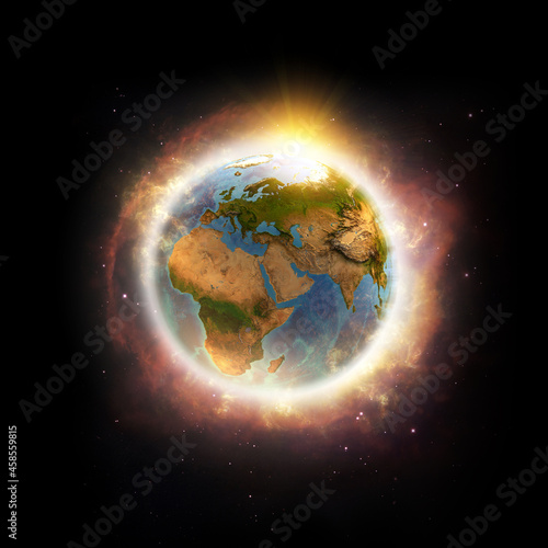 Canvas Print Global warming, climate change, worldwide disaster on Planet Earth