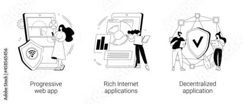 Mobile app development abstract concept vector illustrations.
