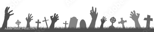 Foto halloween zombie hands with grave stones