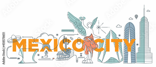 """Typography word """"Mexico City"""" branding technology concept. Collection of flat vector web icons, culture travel set, famous architectures and specialties detailed silhouette. Mexican famous landmark."""