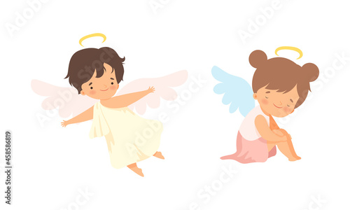 Fotografiet Cute Baby Angels with Nimbus and Wings Vector Set