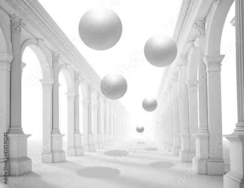 Murais de parede 3d picture of a colonnade with balls