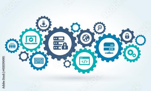 Fotografiet software engineering or programming vector illustration.