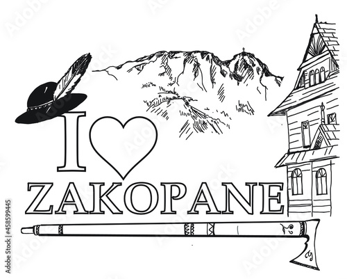 Zakopane, I love zakopane, Tatry, Giewont, miasto, góry, góralski, folklor góralski, parzenica, ciupaga,
