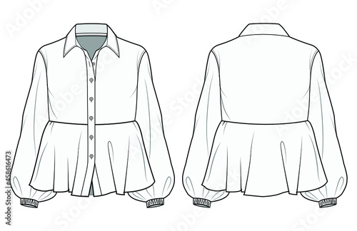 Fotografiet Women Bishop Sleeve Peplum Blouse with Shirt Collar Front and Back View Vector Fashion Illustration , CAD, Technical Drawing, Flat Drawing