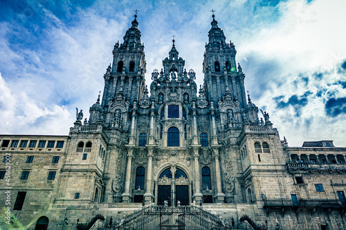 Fotografering Ancient architecture of the Santiago de Compostela cathedral