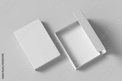 Leinwand Poster White opened and closed rectangle folding gift box mock up on white background