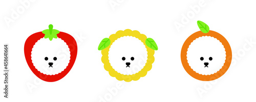 Fotografering Bichon Frize dog character icon set with cute hat